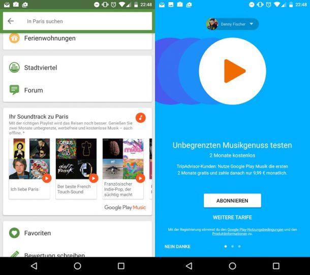Google Play Music TripAdvisor