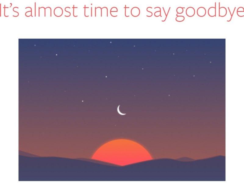 Sunrise Calendar goodbye