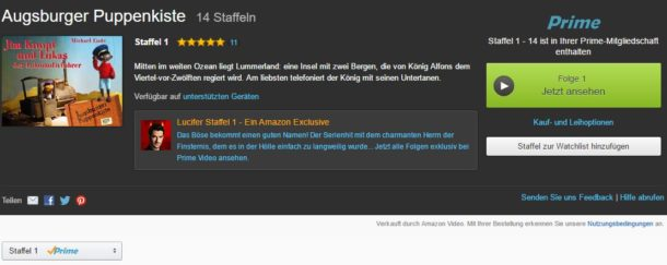 Amazon Prime Instant Video Augsburger Puppenkiste