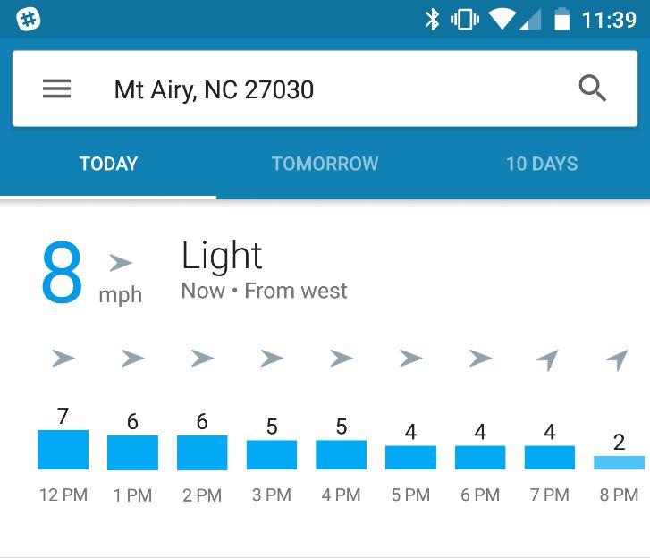 Google Now Wetter NIederschlag und Wind