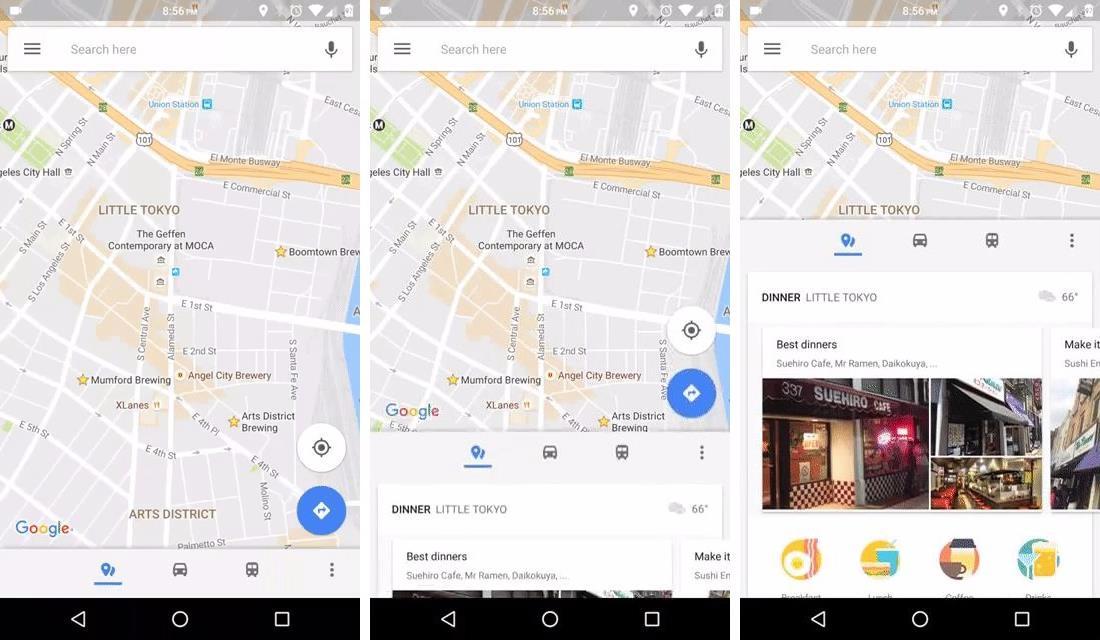 google maps neues navigationsmen und anzeige der. Black Bedroom Furniture Sets. Home Design Ideas
