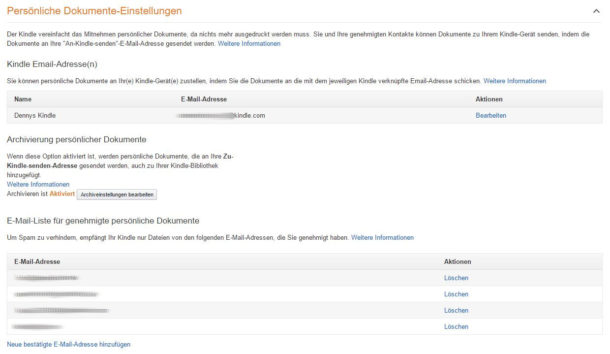 Amazon Kindle Dokumente Einstellungen
