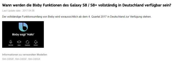 Samsung Galaxy S8 Bixby FAQ Datum