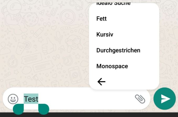 WhatsApp Textformatierung Kontextmenü