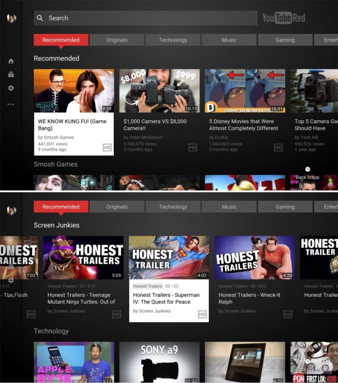YouTube Android TV 2.0