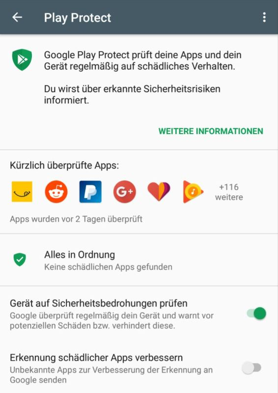 Google Play Protect Screenshot