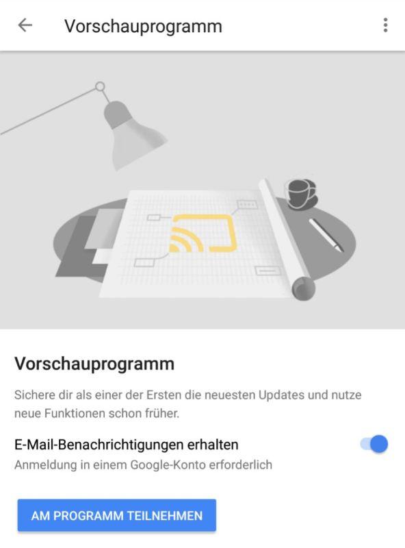 Google Home Vorschauprogramm