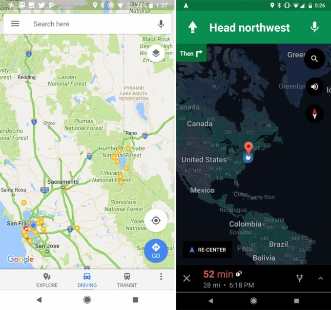 Google Maps Navigation Bar Android 8.1