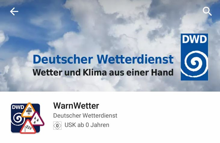 WarnWetter Play Store Header