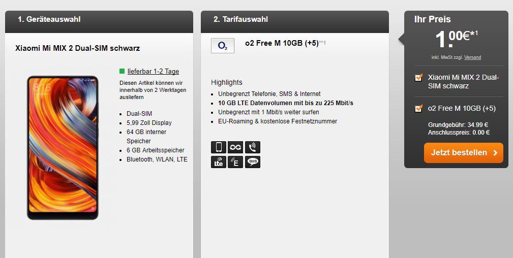 Xiaomi Mi Mix 2 + o2 Free M (10 GB) für nur 35 Euro mtl.