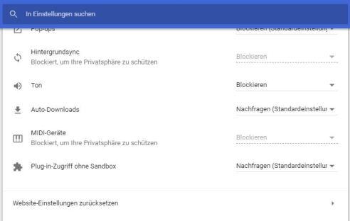 Chrome 64 Webseite-Einstellungen Ton