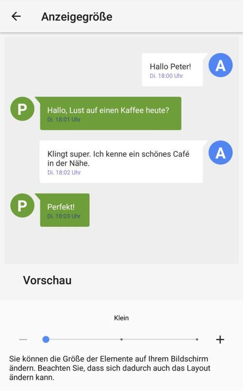Anzeigengröße Android Screenshot