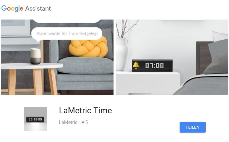 LaMetric Time Google Assistant