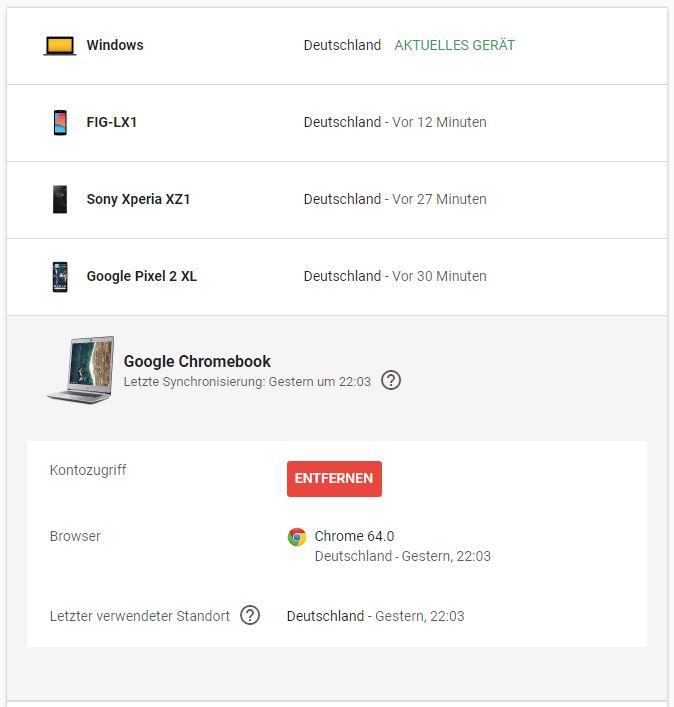 Google Geräte Aktivitäten Screenshot