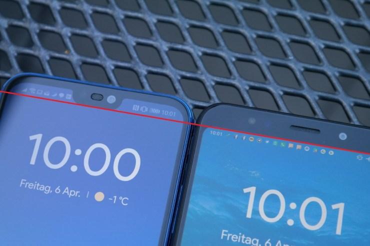 Huawei P20 lite Redmi 5 Plus Display-Notch Vergleich