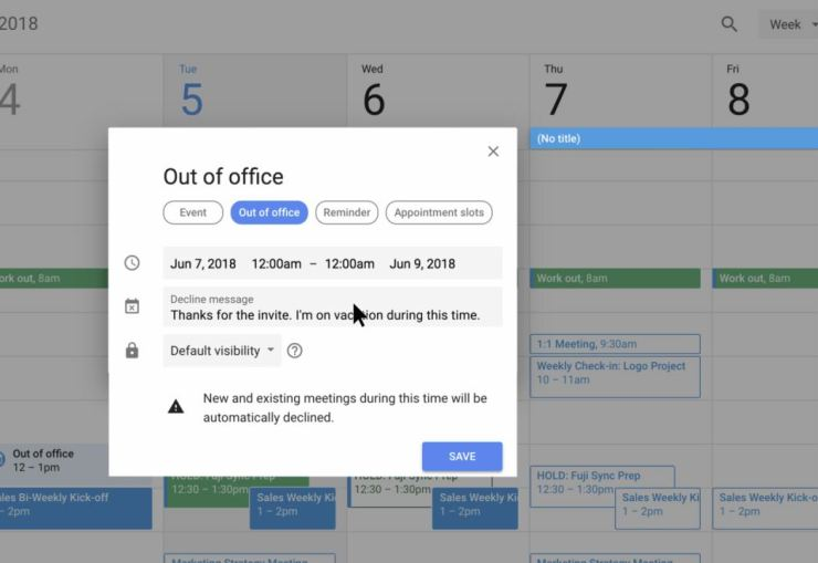 Out of office Google Kalender