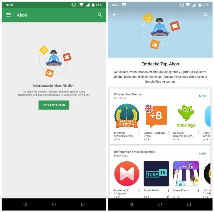 Google Play Abonnements