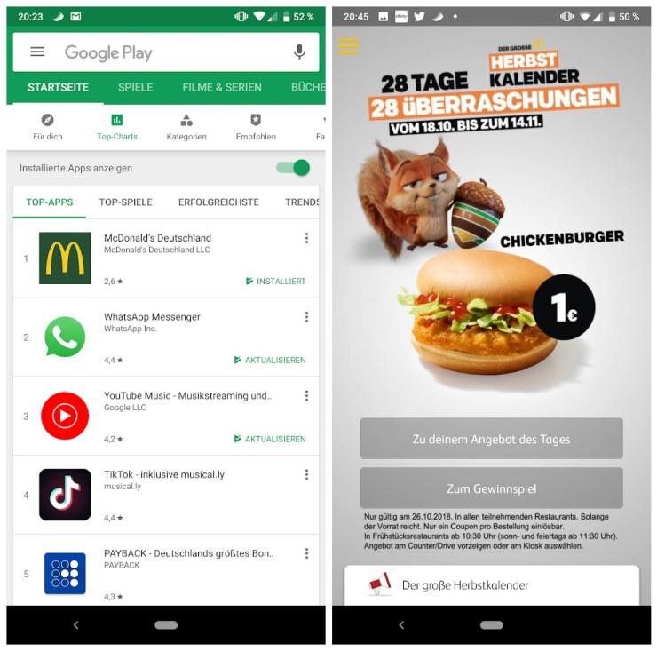 mcdonalds app aktion oktober 2018