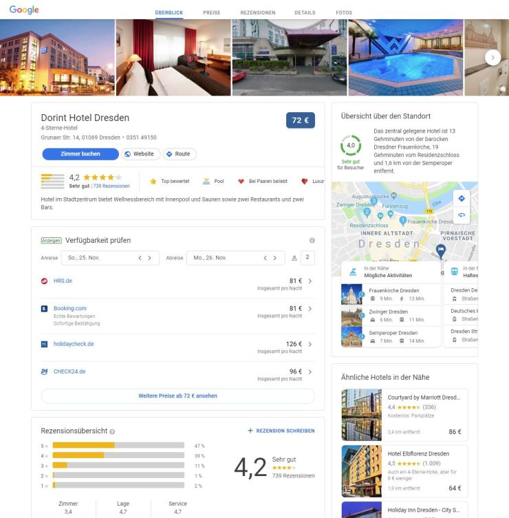 Google Hotelsuche Update Oktober 2018