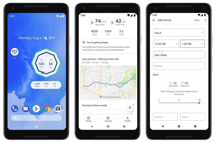 Google Fit Dezember 2018 Update