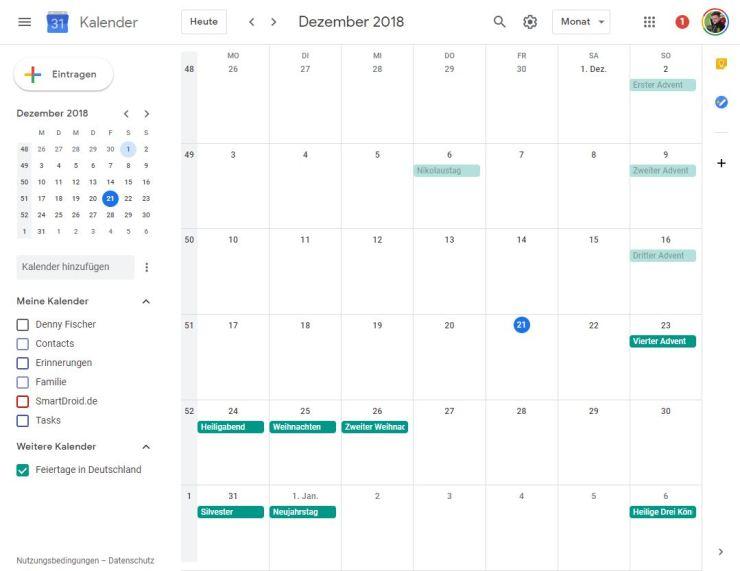 Google Kalender Dezember 2018 Update