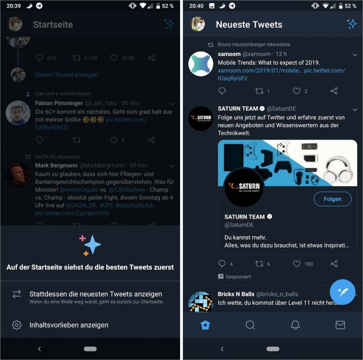 Twitter chronologisch Android App