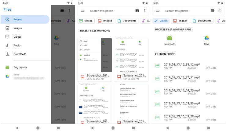 Android Q Files App Screenshots