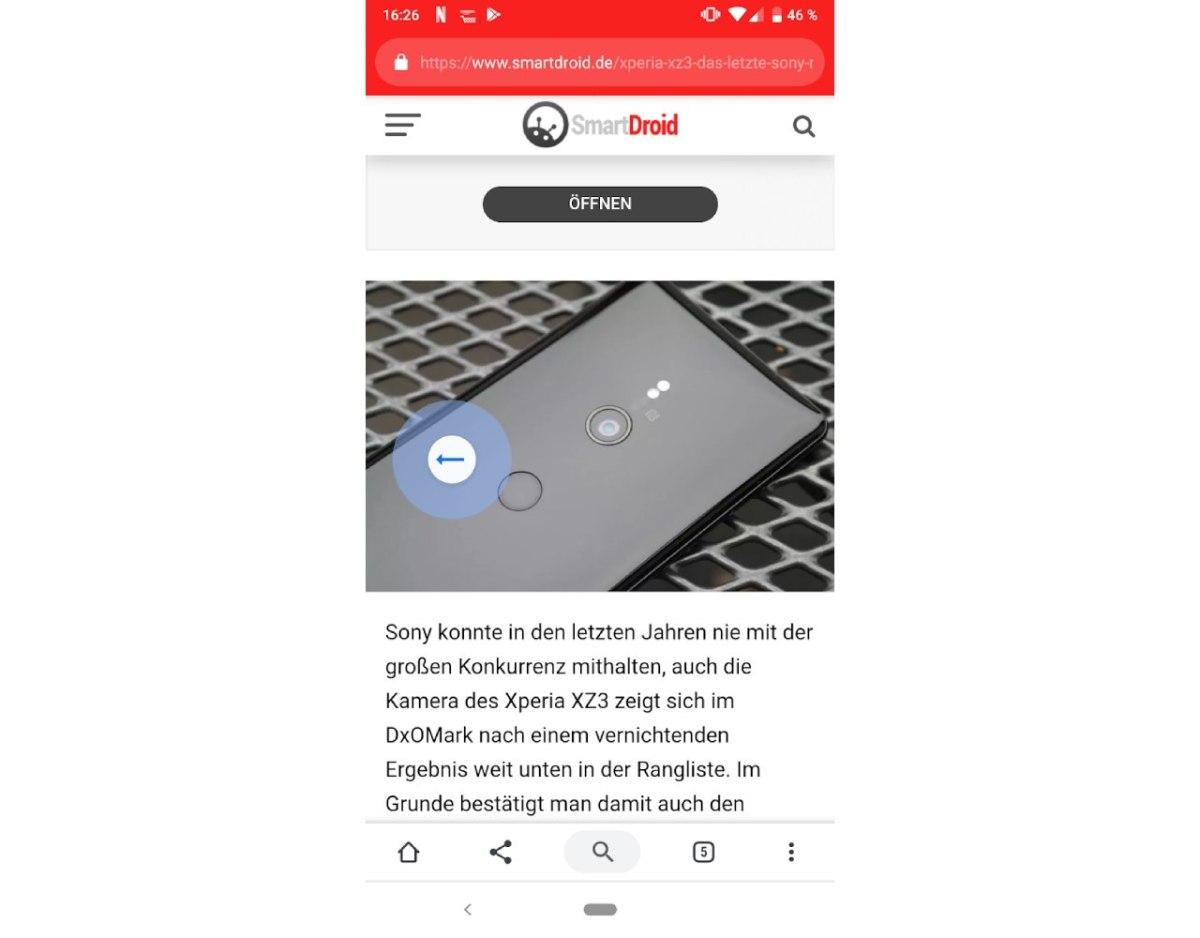Duet und Wischgesten Screenshot Chrome