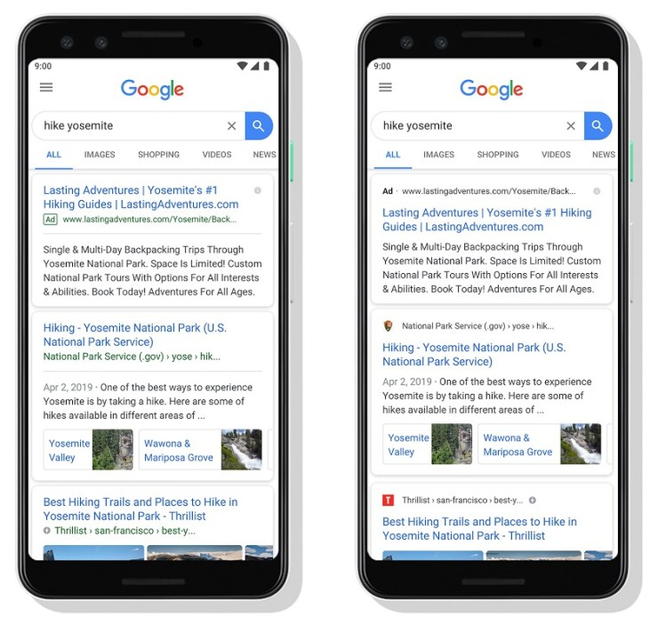 Google Mobile Update Mai 2019 Screenshots