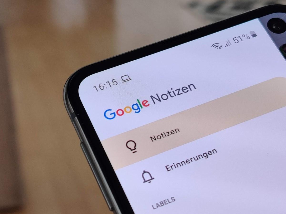 Google Notizen Header