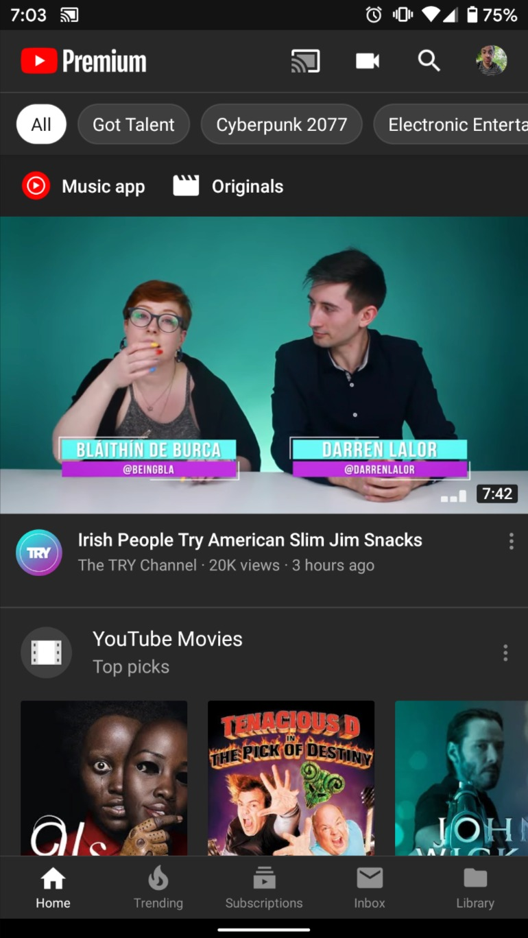 YouTube Startseite Filter
