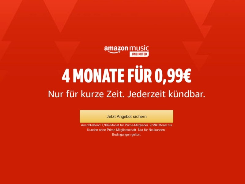 Amazon Music Unlimited 99 Cent