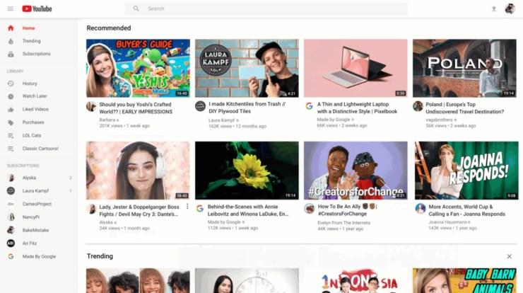 YouTube neue Startseite Nov 2019