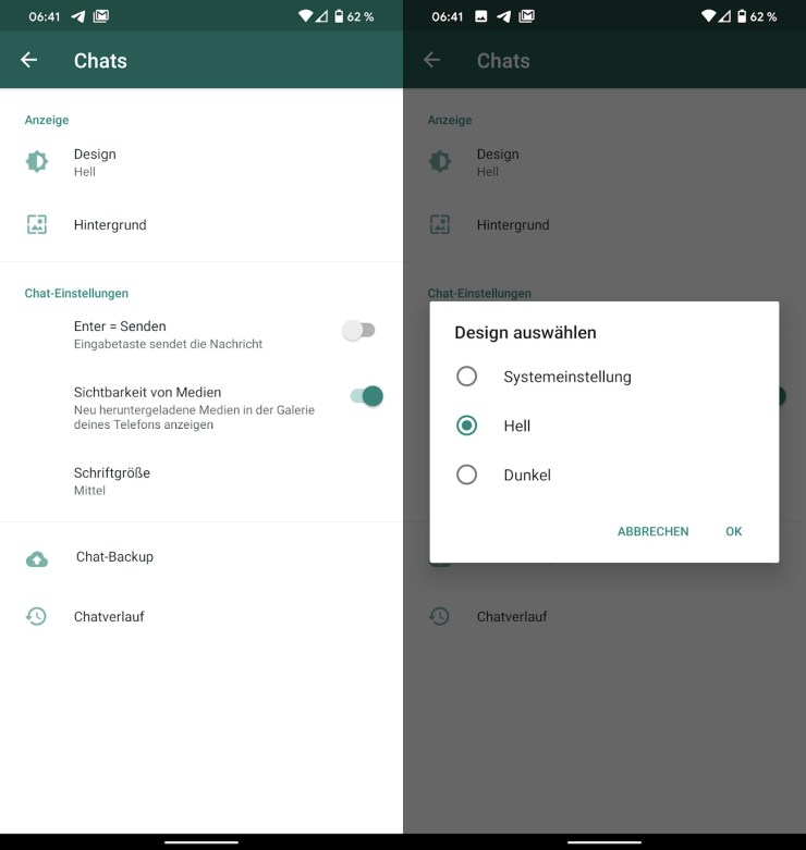 WhatsApp Nachtmodus Einstellungen Screenshots
