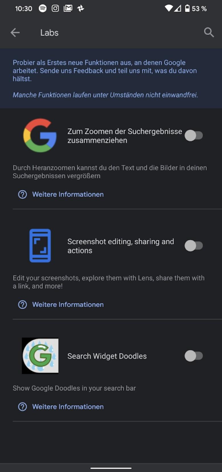 Google App Labs Screenshot