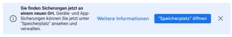 Google Drive Sicherungen Hinweis