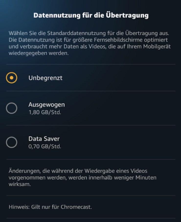 Amazon Prime Video Chromecast Datenverbrauch
