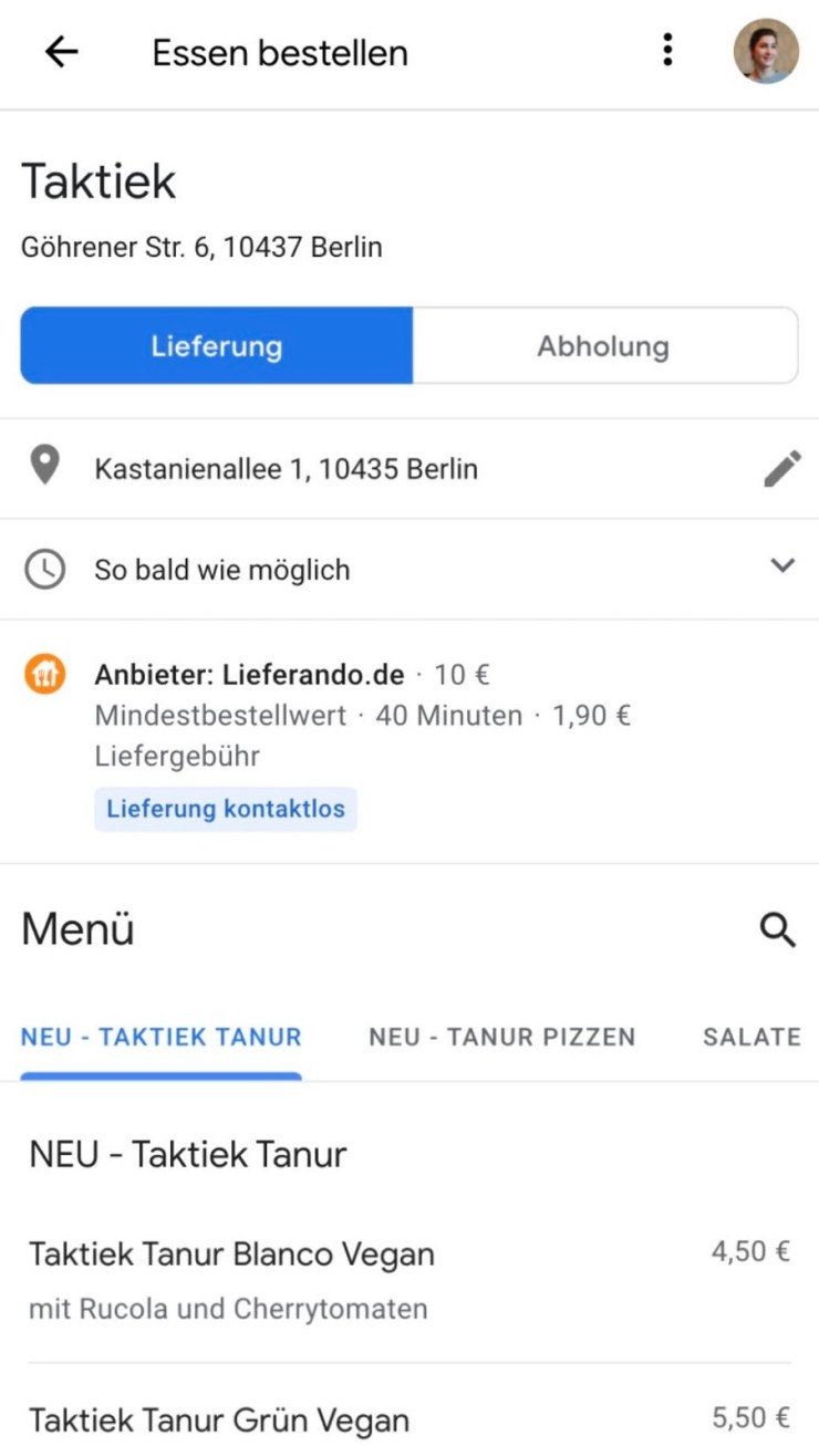 Essen Bestellen Google Suche