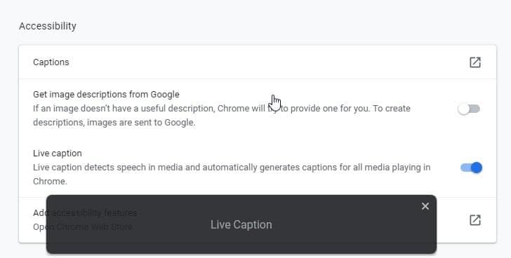 Google Chrome Live Caption 1