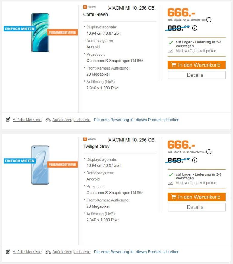 Saturn Angebot Xiaomi Mi 10 Deal