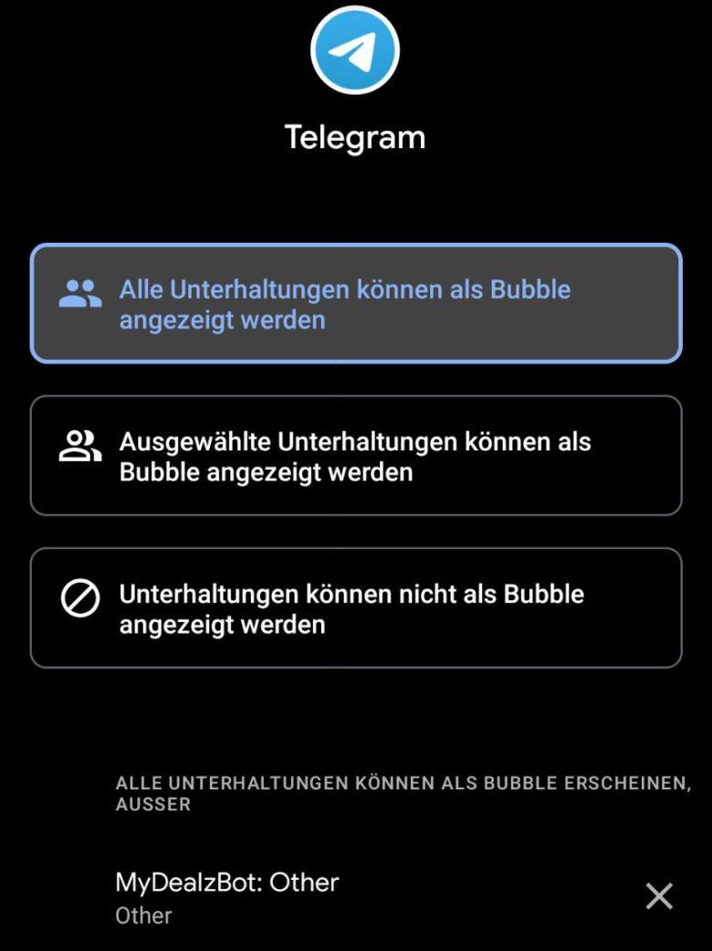 Bubbles Einstellungen
