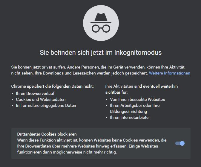 Chrome Inkognitot Drittanbieter Cookies
