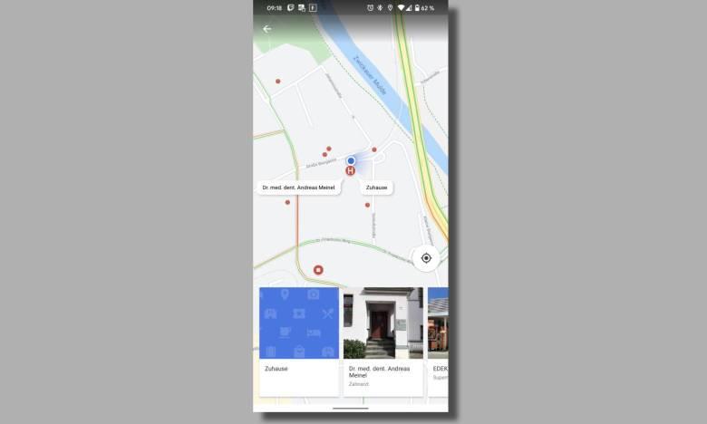 Google Maps In Der Nähe Blaues Menü