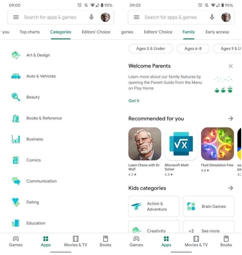 Google Play Store Neue Kategorie Icons Screenshots
