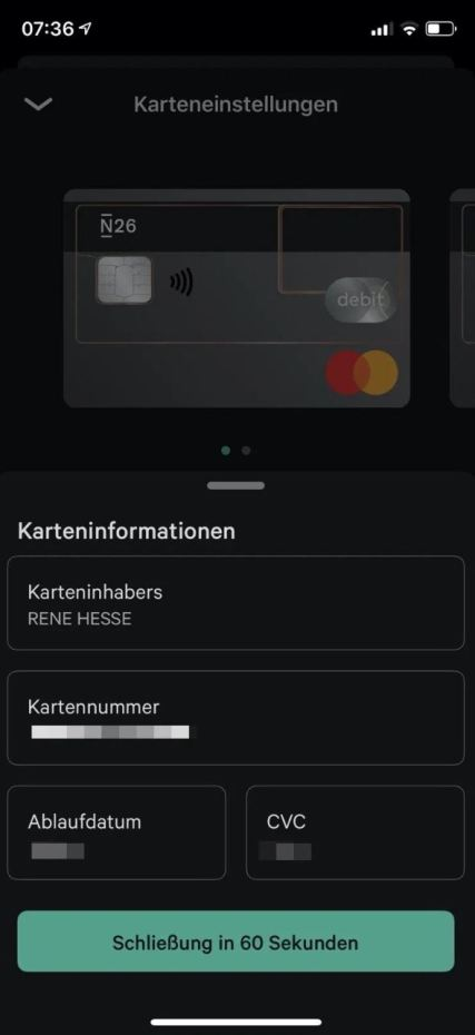 N26 Karteninformationen