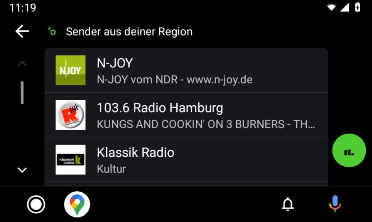Radio.de Android Auto