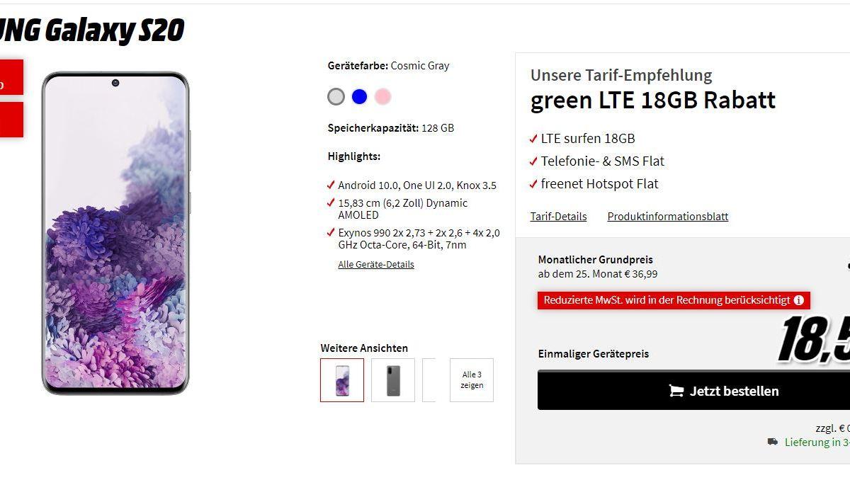 Samsung Galaxy S20 Bundle Mm 18 Gb Telekom Lte