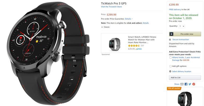 Ticwatch Pro 3 Amazon Leak