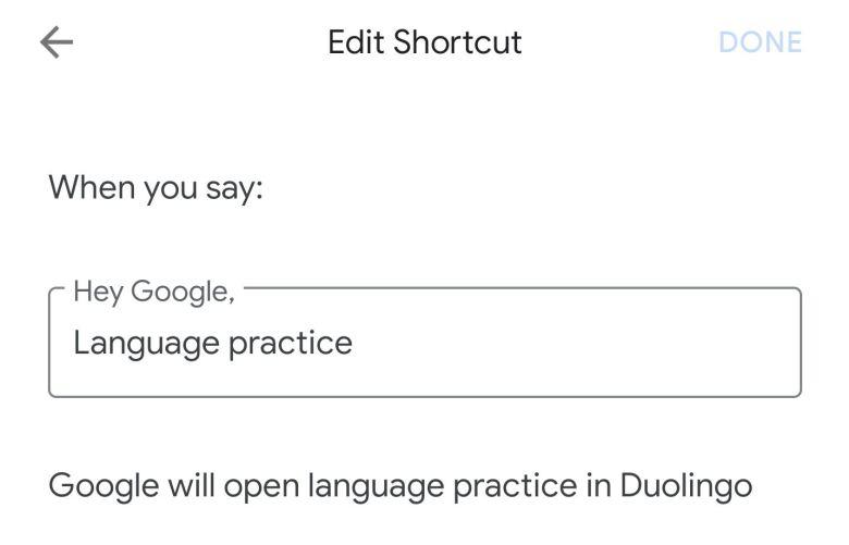 Assistant Shortcut Duolingo Beispiel