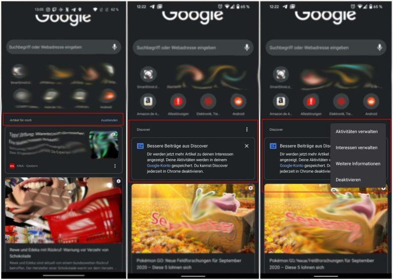 Neue Einstellungen für Google Discover im Chrome-Browser - Inhalte